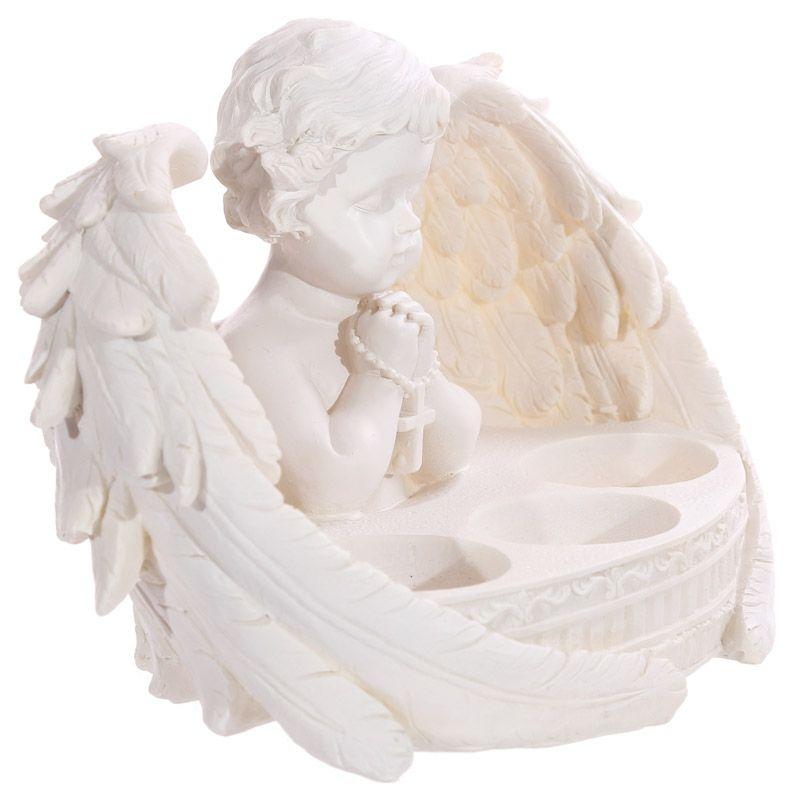 Čajový svietnik Anjel CHE55, biely